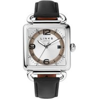 Driver Square Stainless Steel White Dial & Black Leather Band Watch