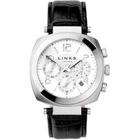 Brompton Men's Stainless Steel & Black Leather Band Chronograph Watch - Band Gifts