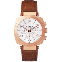 Brompton Rose Gold-Plated & Brown Leather Band Chronograph Watch by Links of London