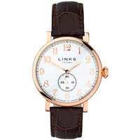Greenwich Men's Rose Gold-Plated & Brown Leather Band Watch - Band Gifts