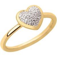 Diamond Essentials 18K Yellow Gold Vermeil & Pave Heart Ring - Diamond Gifts