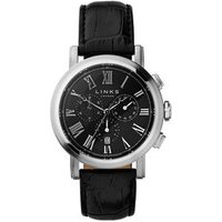 Richmond Men's Stainless Steel & Black Leather Band Black Dial Chronograph Watch - Band Gifts