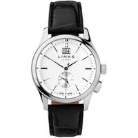 Regent Men's Stainless Steel & Black Leather Band Watch - Band Gifts