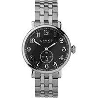 Greenwich Men's Black Dial Stainless Steel Bracelet Watch - Bracelet Gifts