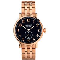 Greenwich Men's Black Dial Rose Gold-Plated Bracelet Watch - Bracelet Gifts
