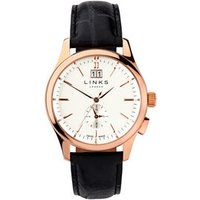 Regent Men's Rose Gold-Plated & Black Leather Band Watch by Links of London