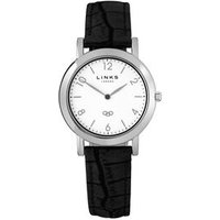 Noble Slim Women's White Dial Black Leather Band Watch Steel - Band Gifts