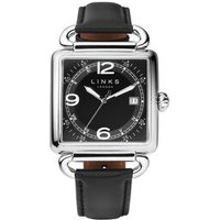 Driver Square Men's Stainless Steel Black Dial Black Leather Band Watch - Band Gifts
