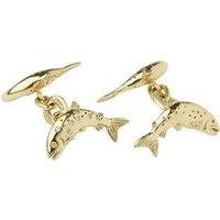 18kt Yellow Gold & Diamond Salmon Cufflinks
