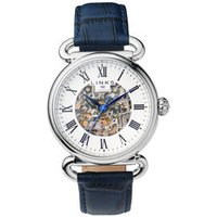 Driver Men's Skeleton Automatic Stainless Steel & Blue Leather Band Watch