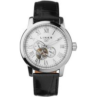 Noble Roman Stainless Steel & Black Leather Band Automatic Watch