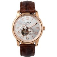 Noble Men's Rose Gold-Plated & Brown Leather Band Automatic Watch - Band Gifts