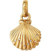18kt Yellow Gold, Diamond & Pearl Clam Shell Charm