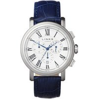 Richmond Men's Stainless Steel & Blue Leather Band Chronograph Watch - Band Gifts