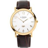 Noble Slim Men's Yellow Gold-Plated & Brown Leather Band Strap Watch