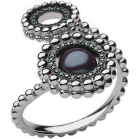 Effervescence Sterling Silver, Blue Diamond & Pearl Double Ring by Links of London