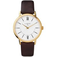 Noble Slim & Roman Yellow Gold Plated & Brown Leather Band Watch