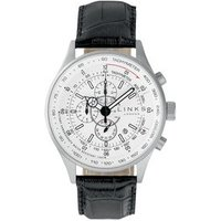 MPH Stainless Steel & Black Leather Band Black Dial Chronograph Watch - Band Gifts