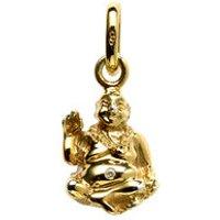 18kt Yellow Gold and Diamond Laughing Buddha Charm - Buddha Gifts