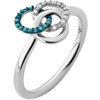 Treasured Sterling Silver, White & Blue Diamond Ring