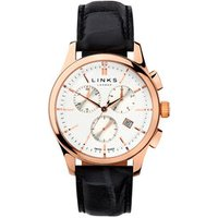Regent Men's Rose Gold-Plated & Black Leather Band Chronograph Watch