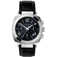 Brompton Men's Stainless Steel & Black Leather Band Black Dial Chronograph Watch - Band Gifts