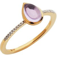 Luna Gems 18kt Yellow Gold, Amethyst & Diamond Ring - Diamond Gifts