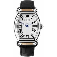 Driver Ellipse Stainless Steel-Plated Black Leather Band Watch