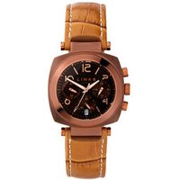 Brompton Women's Brown Stainless Steel & Mustard Leather Band Chronograph Watch