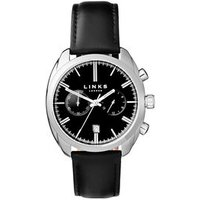 Bloomsbury Men's Stainless Steel & Black Leather Band Strap Watch
