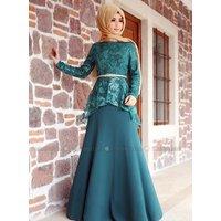 Grün - Mit Innenfutter - Stehkragen - Festlicher Hijab - Zehrace