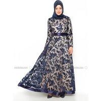 Große Größen Abendkleid - Marineblau - MODAYSA