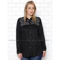 Schwarz - Spitzer Kragen - Bluse/Hemd G.G. - RMG