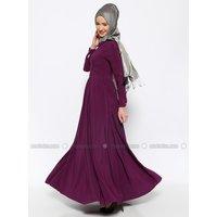 Purpur - Spitzer Kragen - Mit Innenfutter - Hijab Kleid - Özne Olmak