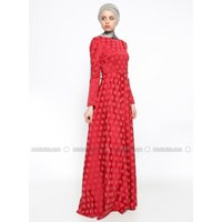 Mit Innenfutter - mit Punkten - Rot - Hijab Kleid - AGONYA MODA