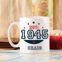 Personalised 70th Birthday Est Mug For Him - 70th Birthday Gifts