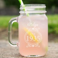 Personalised 80th Birthday Glass Mason Jar For Her - 80th Birthday Gifts