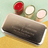 Personalised Fairy Godmother Engraved Tin & Candle Set - Godmother Gifts