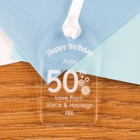 50th Birthday Acrylic Gift Tag - 50th Gifts