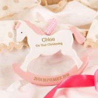 Pink Girls Engraved Christening Rocking Horse - Christening Gifts