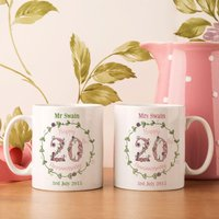 Personalised 20th Wedding Anniversary Mug Set - Wedding Anniversary Gifts