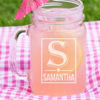 Engraved Female Initial Glass Mason Jar - 16th Birthday Gifts