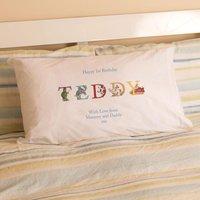 1st Birthday Illustrated Boys Name Pillowcase - 1st Birthday Gifts