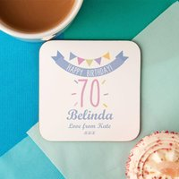 70th Birthday Drinks Coaster for Her - 70th Birthday Gifts
