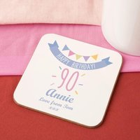 90th Birthday Drinks Coaster for Her - 90th Birthday Gifts