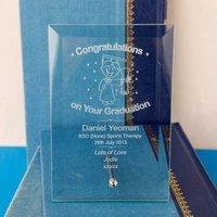 Graduation Glass Plaque :Male - Graduation Gifts