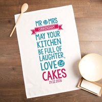Couples Laughter, Love & Cakes Personalised Tea Towel - Laughter Gifts