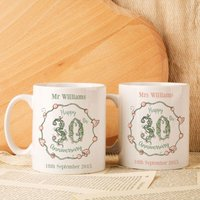 Personalised 30th Wedding Anniversary Mug Set - Wedding Anniversary Gifts