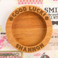 Personalised Good Luck Clover Wooden Wine Bottle Coaster - Forever Bespoke Gifts