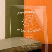 Graduation Glass Plaque :Female - Graduation Gifts